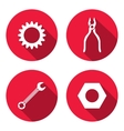 Tool icon set Cogwheel bolt nut wrench key vector image vector image