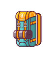 tourist hiking backpack icon vector image vector image