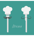Two forks with big mustaches and chefs hats Menu vector image vector image