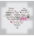 Valentine day typography design words in heart vector image vector image