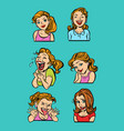woman emotion set collection vector image vector image