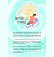 wonderful summer man driving on waterbike poster vector image vector image