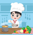 young chef is cooking vector image vector image