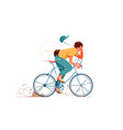 young man rides sport bicycle listening to music vector image vector image