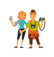 young travelling couple with cameras and selfie vector image vector image
