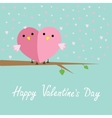 Two birds in shape of half heart sitting on the vector image