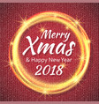 2018 red and white card with merry christmas text vector image vector image