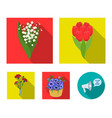 a bouquet of fresh flowers flat icons in set vector image
