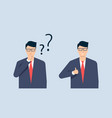 a young man a businessman doubts makes right vector image