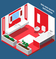 bath room interior isometric composition vector image