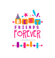 best friend forever logo template with lettering vector image