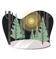 bright night village landscape with fir-trees and vector image