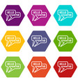 bubble speeches with greetings inside icon set vector image vector image