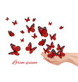 butterfly in hands flying wings papillon farfalle vector image