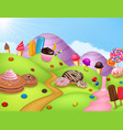 cartoon fantasy sweet land vector image vector image
