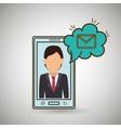cartoon man smartphone cloud email vector image vector image