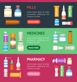 cartoon medicine bottles for drugs banner vector image