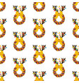 christmas wreath with reindeer horns sealess vector image vector image