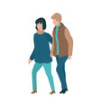 couple walking outdoors at autumn vector image vector image
