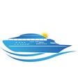 cruise ship sunny waves icon vector image vector image