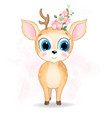 cute baby deer watercolor vector image