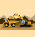 design of heavy machinery used in mining vector image vector image