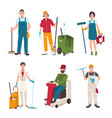 different janitor set people with cleaning vector image vector image
