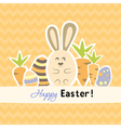 Easter orange card with carrots and rabbit vector image vector image
