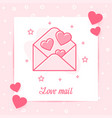 envelope hearts valentine card love mail text icon vector image vector image