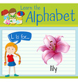 Flashcard letter L is for lily vector image vector image