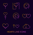 flat line hearts logos icons conceptbrand logo vector image vector image