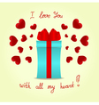 Gift box with a red bow on background with red vector image vector image