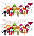Group of kids singing vector image vector image