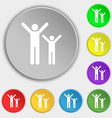 happy family icon sign Symbol on five flat buttons vector image vector image