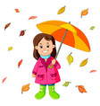 happy girl under umbrella vector image