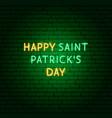 happy saint patricks day neon text vector image vector image
