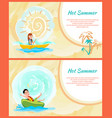 hot summer colorful cards active rest on sea vector image vector image