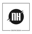 initial letter nh logo template design vector image