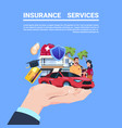 insurance service protection concept hand car life vector image