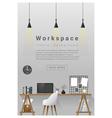 Interior design Modern workspace banner 2 vector image