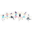jumping people active adults friends group jump vector image