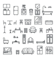 Lineart Flat Furniture Icons and Symbols Set vector image vector image