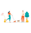 male and female characters walking with dogs vector image vector image