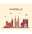 Marseille skyline silhouette linear style vector image vector image