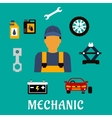 Mechanic profession flat concept with tools vector image vector image