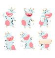 milk cow animal cartoon farm character eating and vector image