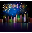 Night City Skyline with Fireworks vector image vector image