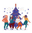 people in party hats dancing at christmas tree vector image vector image