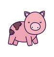 pig in mud farm animal cartoon vector image