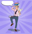 pop art overloaded businessman with documents vector image vector image